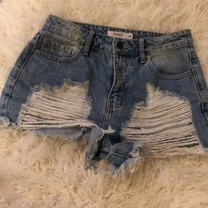 Cello Ripped Denim Shorts